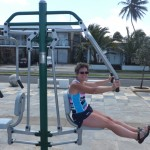 One town had outdoor exercise equipment installed by the ocean front.